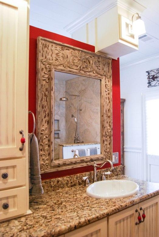B's b/r mirror w/shower reflection